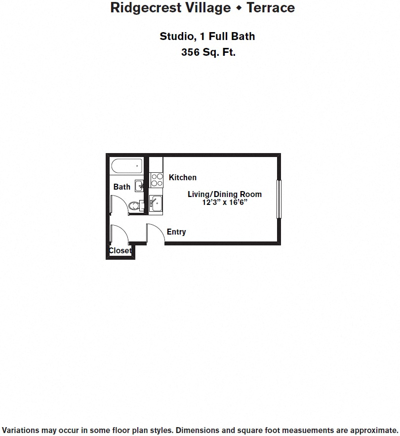 Click to view Floor plan Studio w/ Full Kitchen image 2