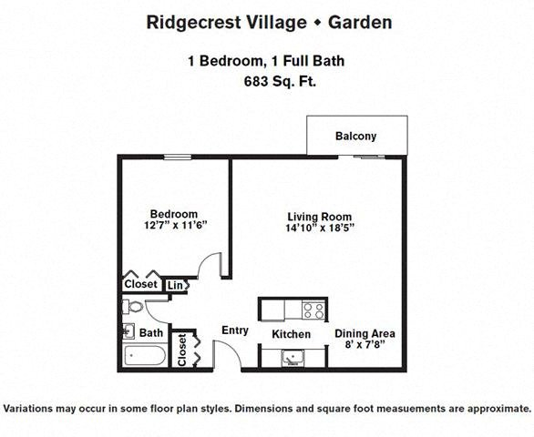 Click to view Floor plan 1 BR Upper Level w/ A/C image 2