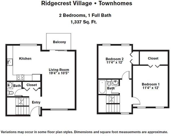 Click to view 2 BR Townhome w/ Extra Storage floor plan gallery