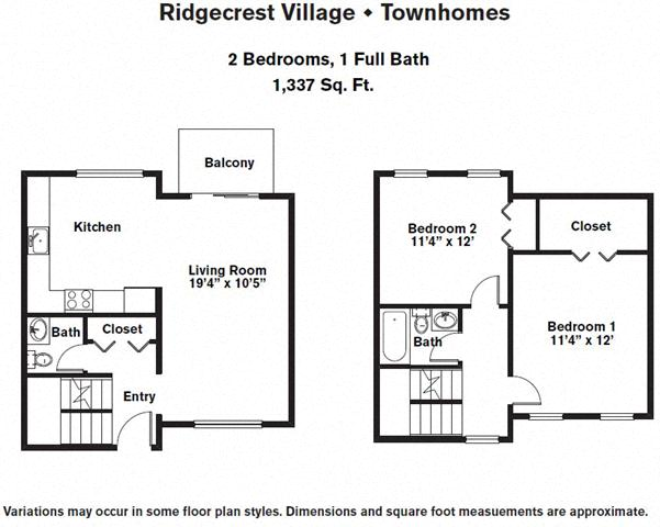 Click to view 2 Bedroom Townhome with Extra Storage floor plan gallery