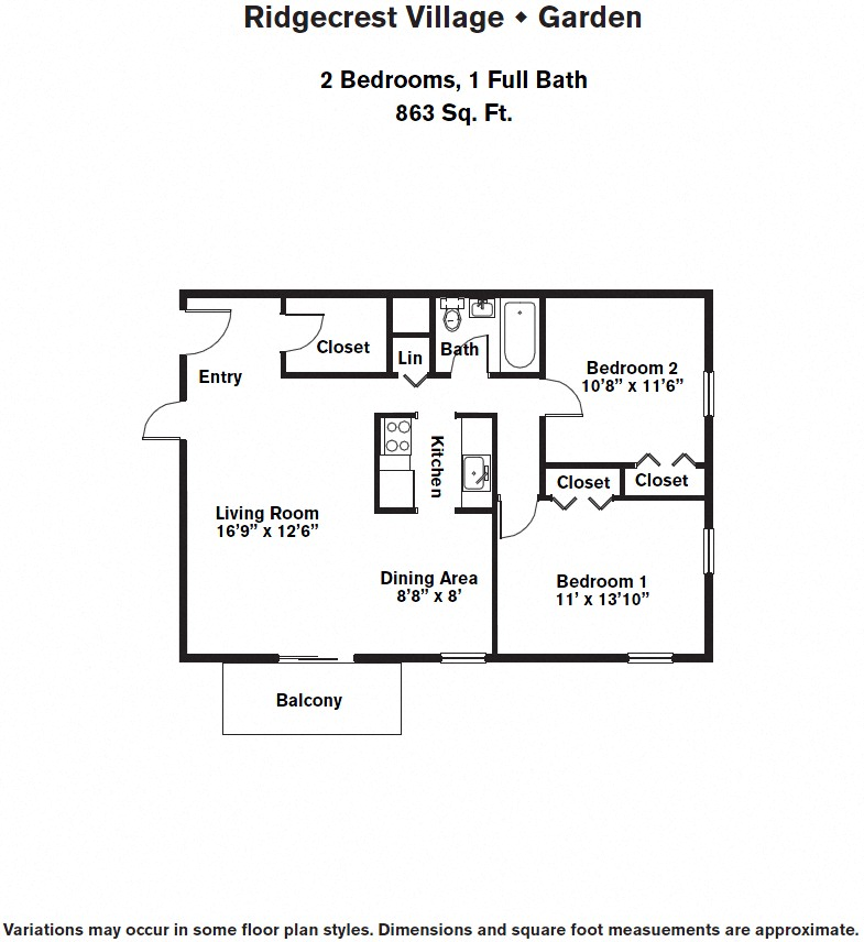 Click to view 2 BR w/ Storage Closet & A/C floor plan gallery