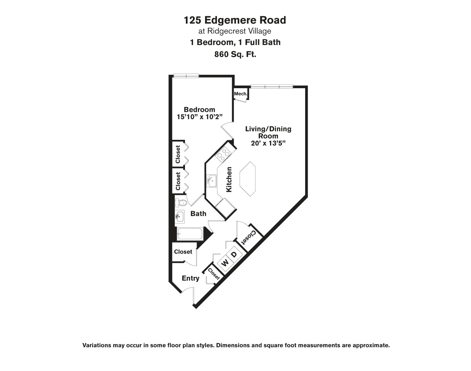 Click to view Floor plan 1 BR - Edgemere image 2