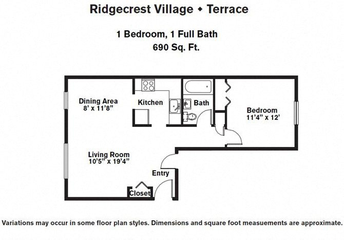 Click to view Floor plan 1 BR Upper Level w/ A/C image 1