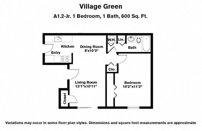 Click to view 1 BR w/ Dining Area floor plan gallery