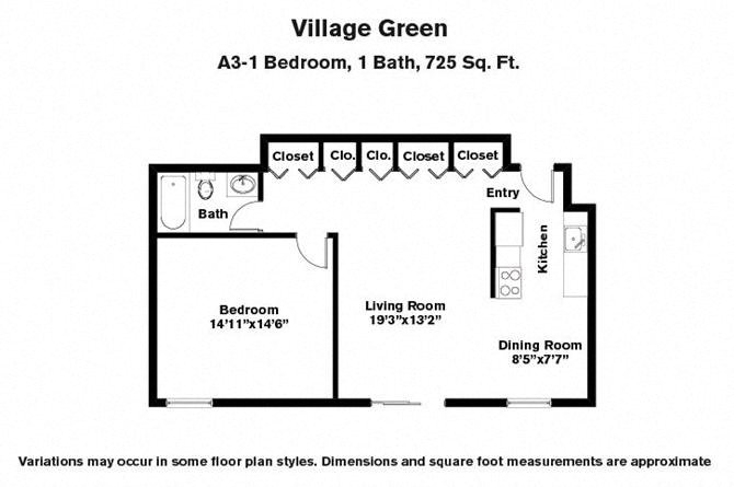 Floor plan 1 BR w/ Many Closets image 1