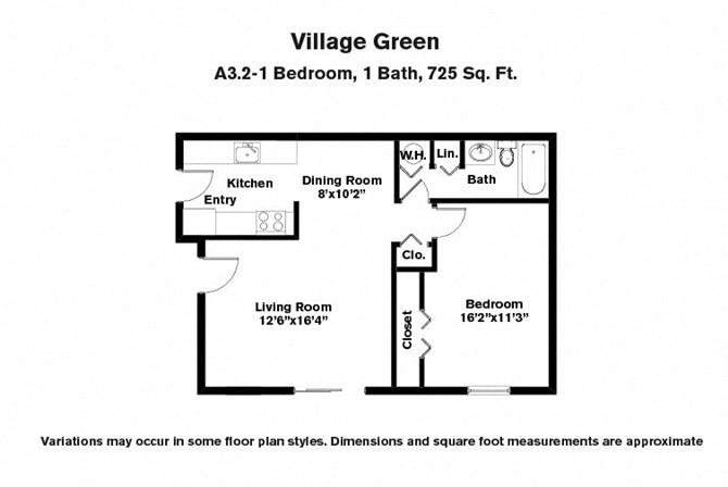 Floor plan 1 BR w/ Large Living Room image 1