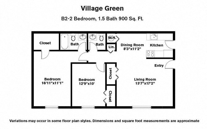 Click to view 2 BR w/ Extra .5 Bath floor plan gallery