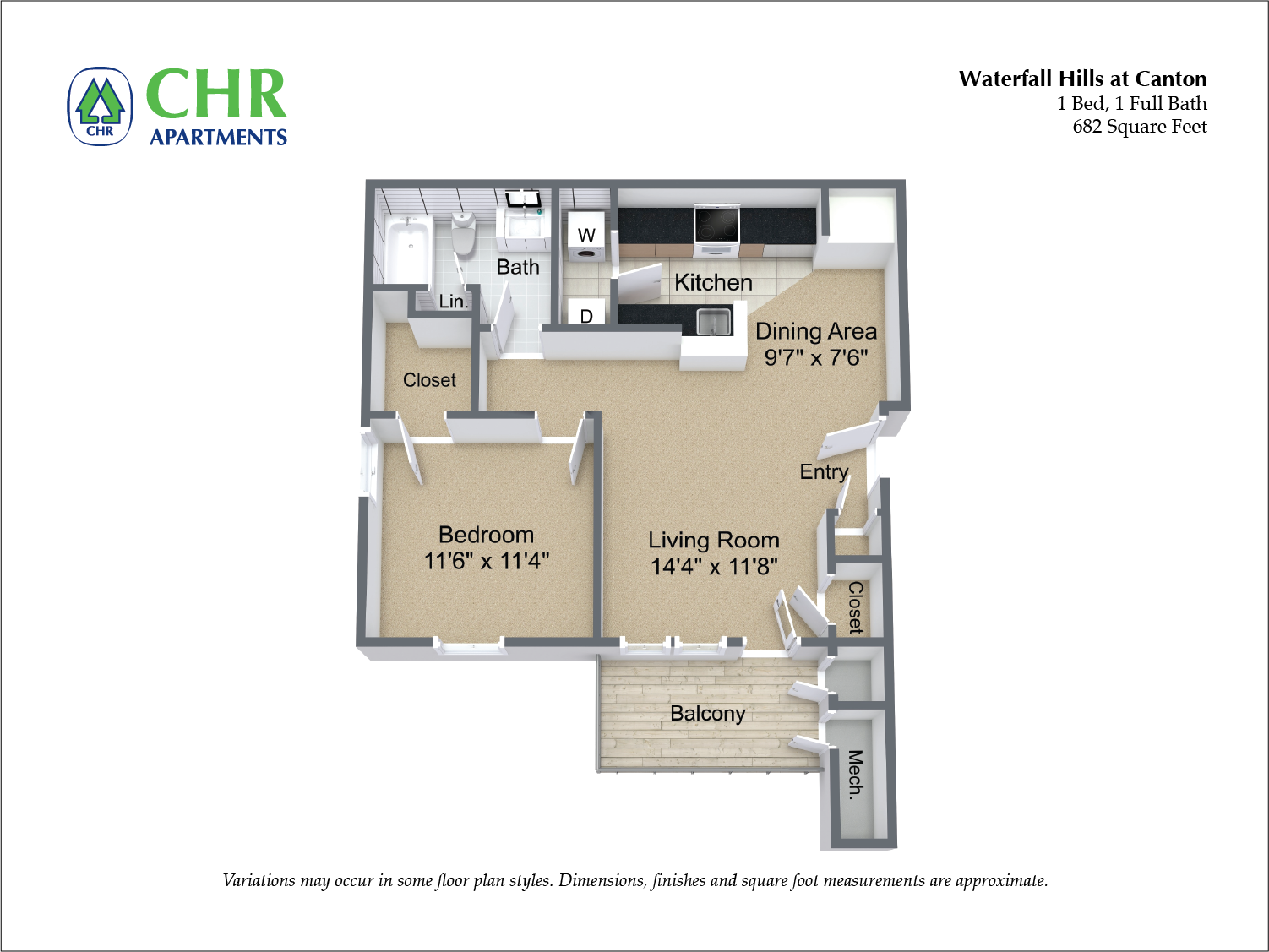 Click to view 1 Bedroom with Washer/Dryer floor plan gallery