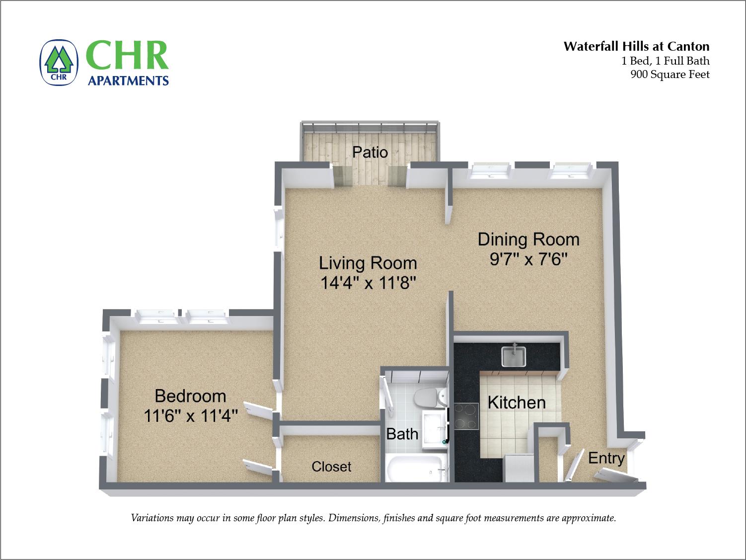 Floor plan 1 Bedroom image 3