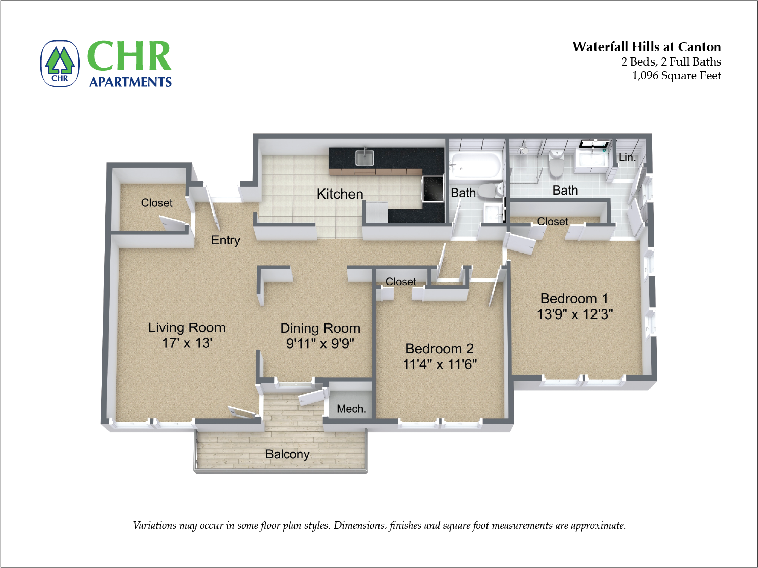 Click to view 2 Bedroom with Eat-In Kitchen floor plan gallery