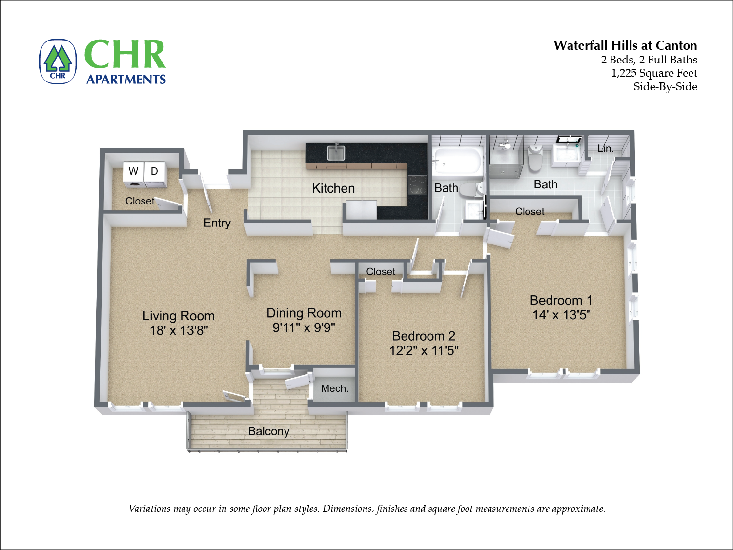 Click to view Floor plan 2 Bedroom with Eat-In Kitchen image 3