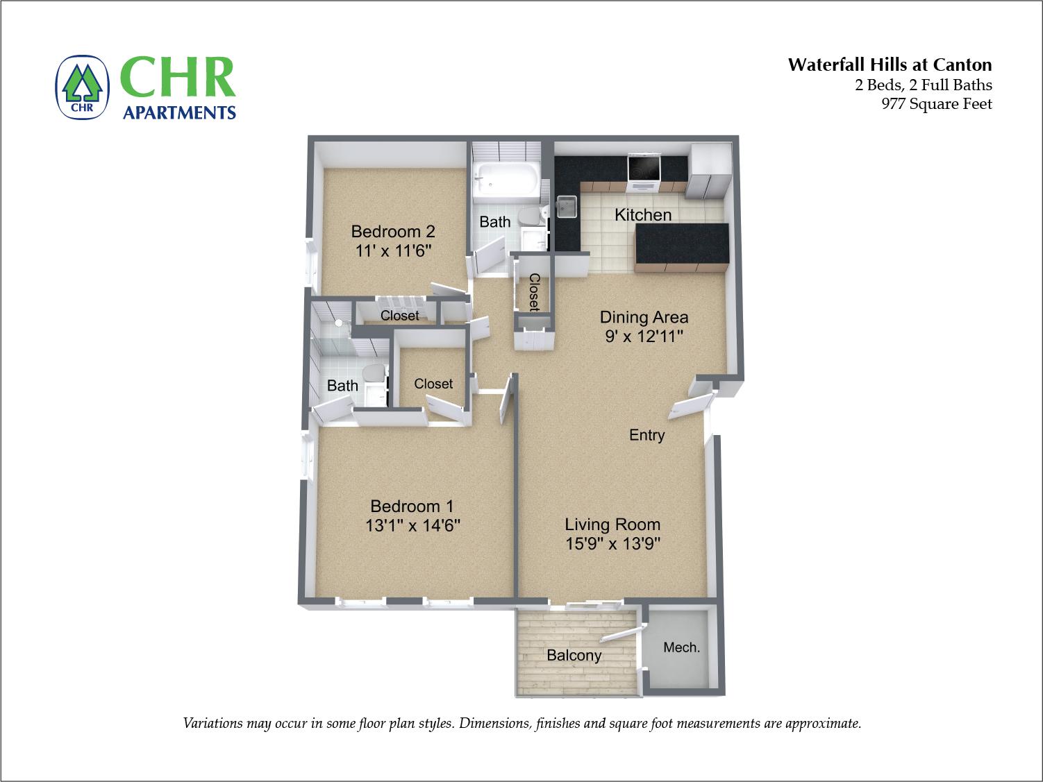 Click to view 2 Bedroom floor plan gallery