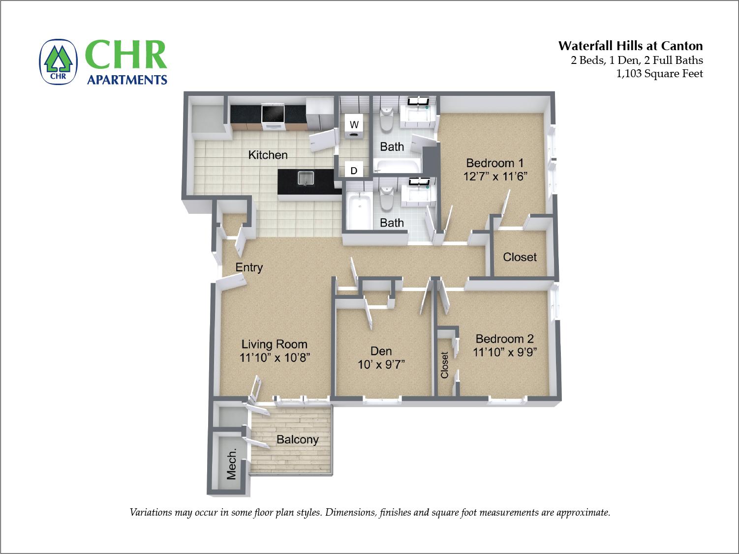Click to view 2 Bedroom and Den floor plan gallery