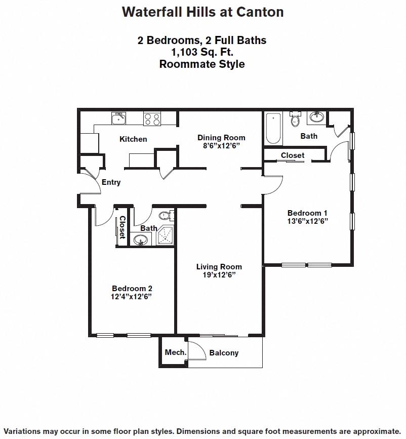 Click to view Floor plan 2 BR - Roommate image 1
