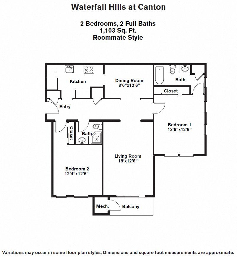 Click to view 2 BR - Roommate floor plan gallery