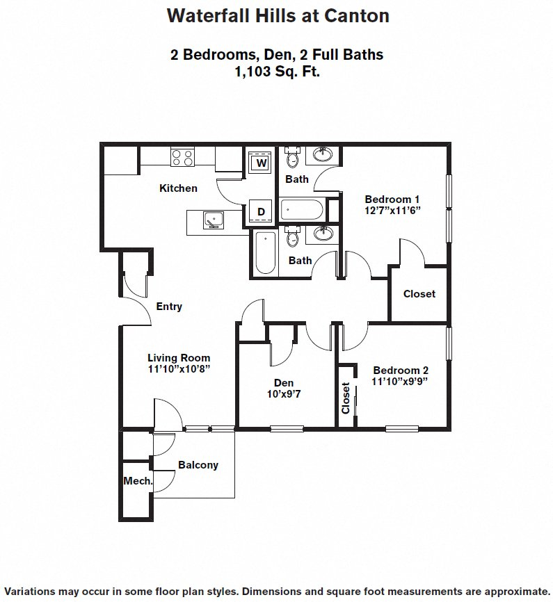 Click to view 2 BR + Den floor plan gallery