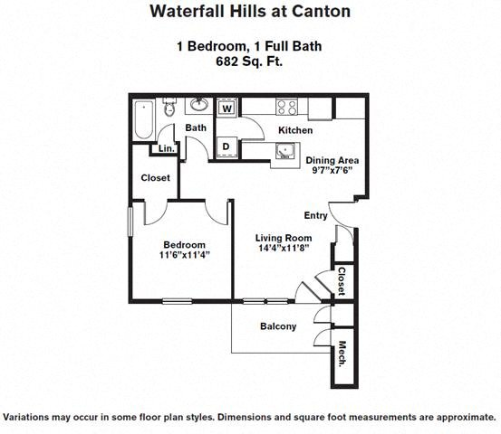 Click to view 1 BR w/ W/D floor plan gallery