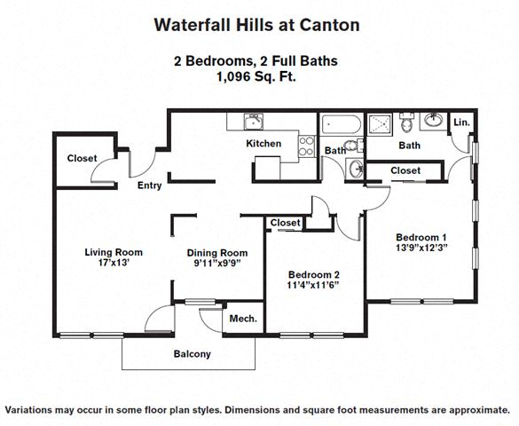Click to view 2 BR w/ Eat-In Kitchen floor plan gallery