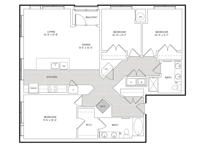 floor plan image of apartment 611