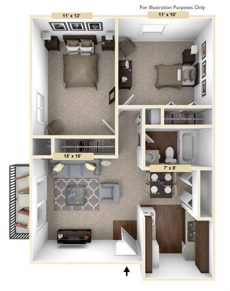 Timberland   Two Bedroom jpg. The Woodland Place Apartments in Midland  MI   Edward Rose   Sons