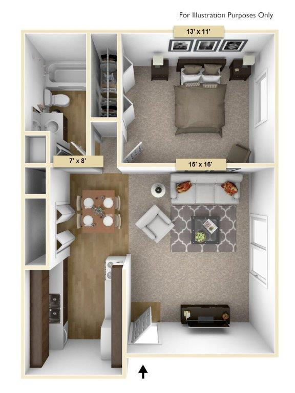 Hemlock One Bedroom floor plan, top view