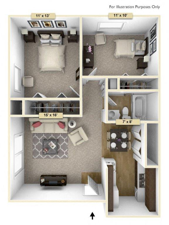 Hemlock/Oak Two Bedroom floor plan, top view