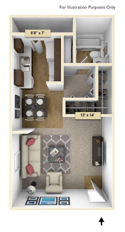 Maple Studio floor plan, top view