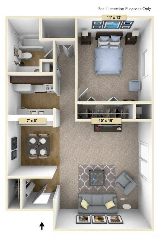 Redwood One Bedroom floor plan, top view