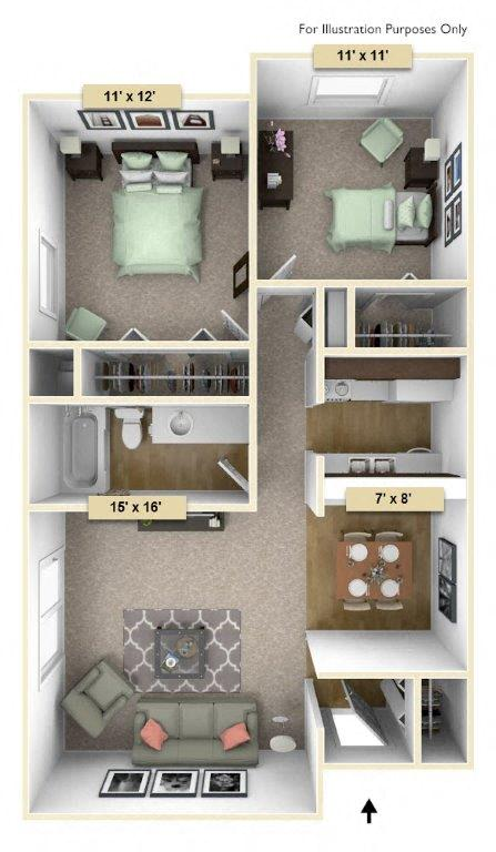 Redwood Two Bedroom floor plan, top view