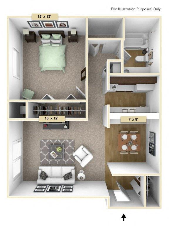 Sycamore One Bedroom floor plan, top view