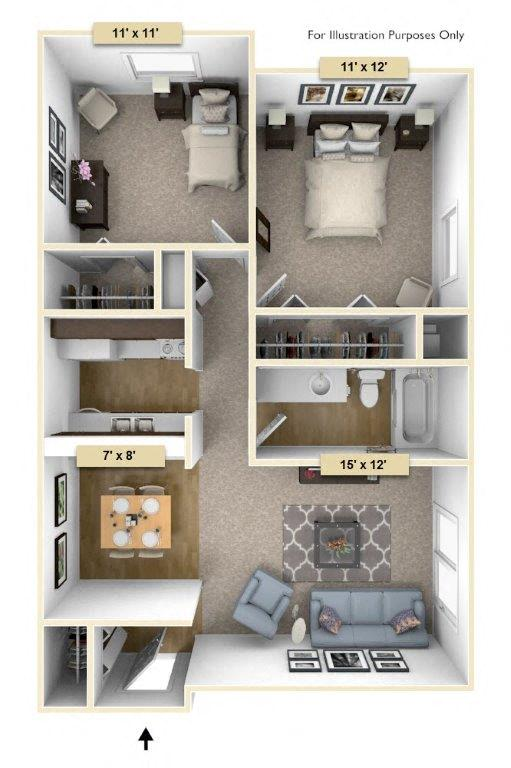Sycamore Two Bedroom floor plan, top view