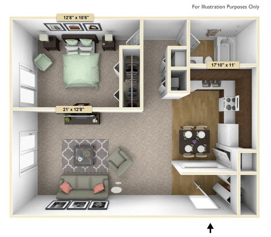 Crescent - One Bedroom One Bath floor plan, top view