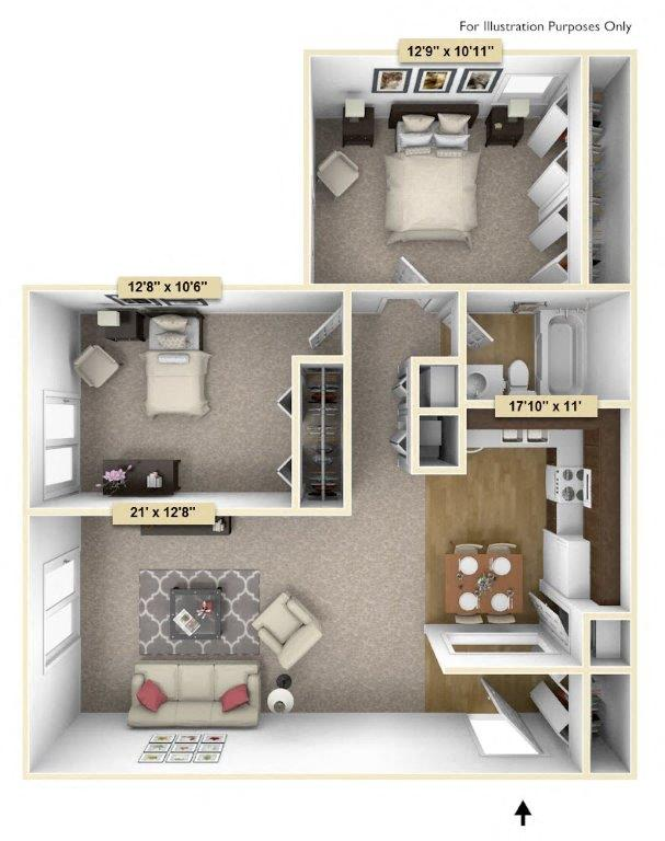 Crescent - Two Bedroom One Bath floor plan, top view