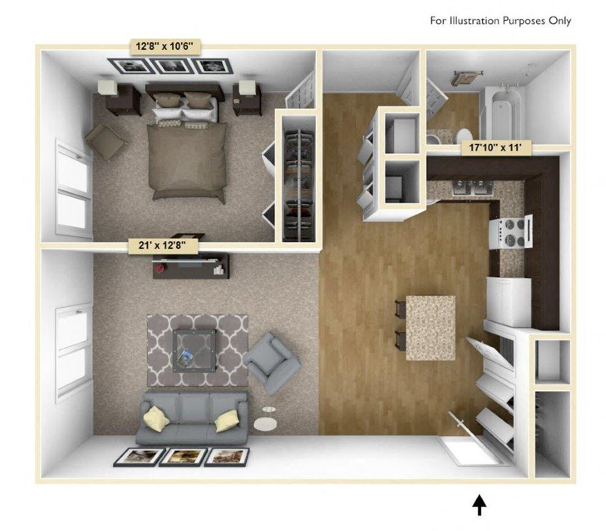 Regal - One Bedroom One Bath floor plan, top view