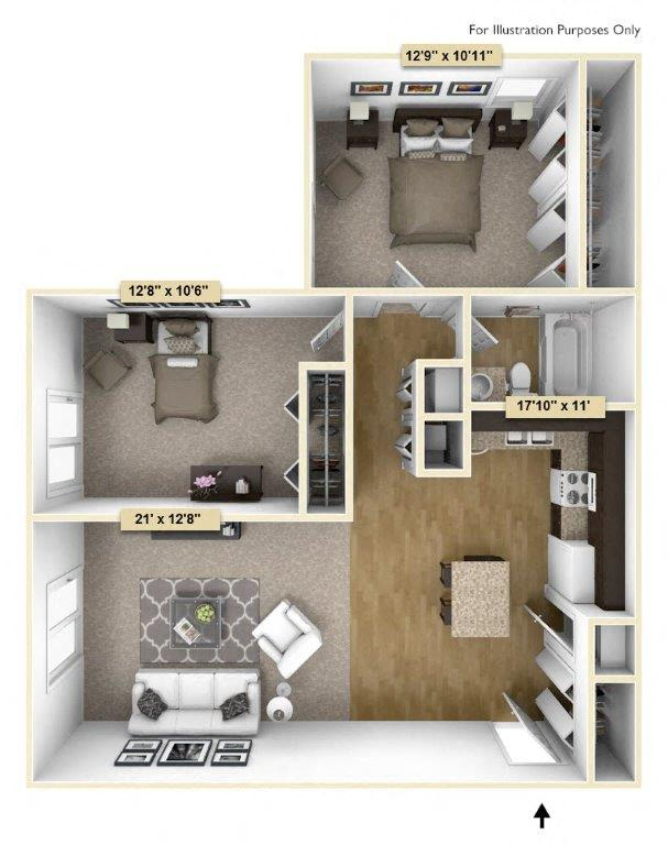 Regal - Two Bedroom One Bath floor plan, top view