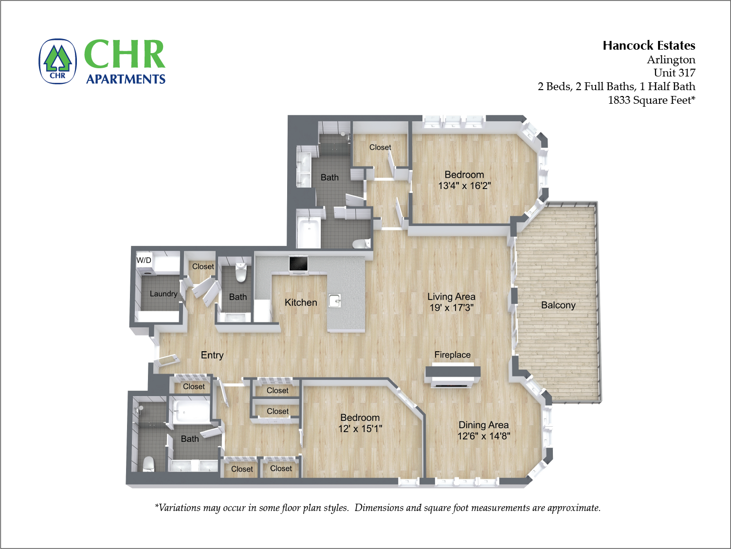 Click to view Floor plan 2 BR 2.5 BA image 16