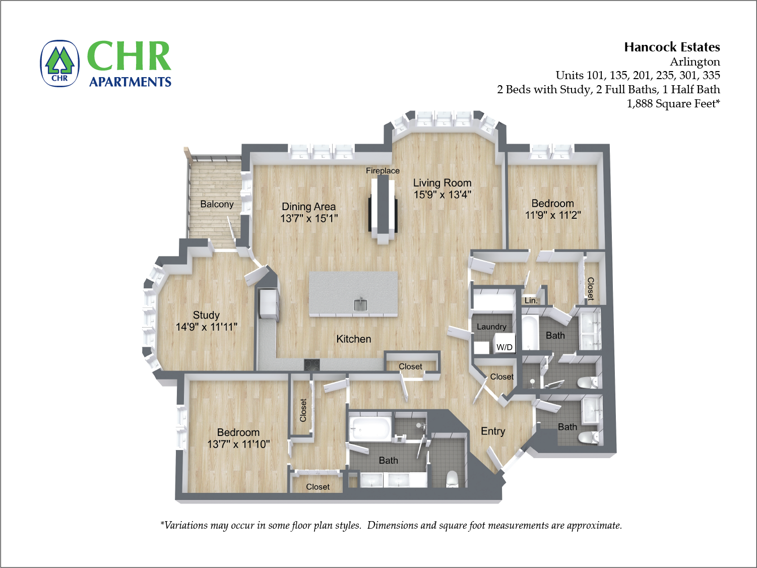 Click to view 2 BR Den 2.5 BA floor plan gallery