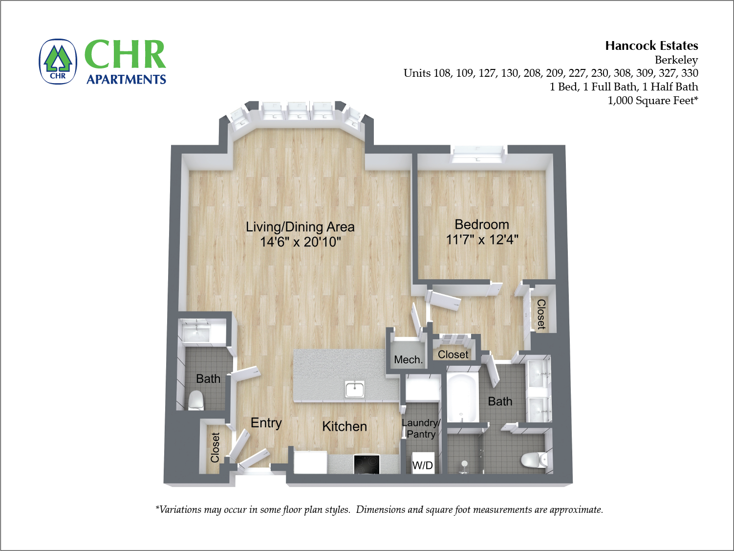 Click to view 1 BR 1.5 BA floor plan gallery