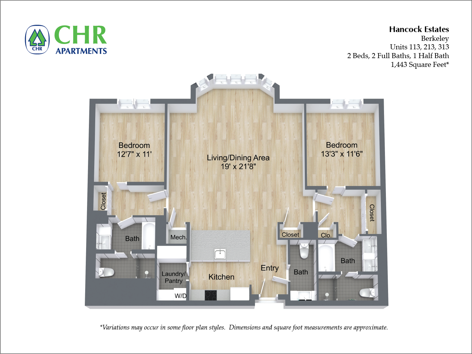 Click to view Floor plan 2 BR 2.5 BA image 11