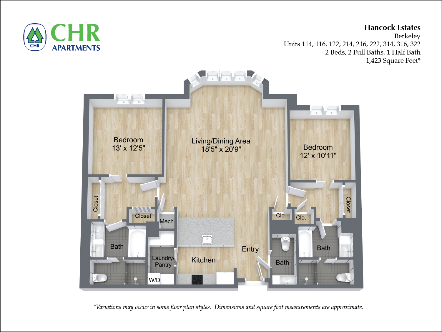 Click to view Floor plan 2 BR 2.5 BA image 14