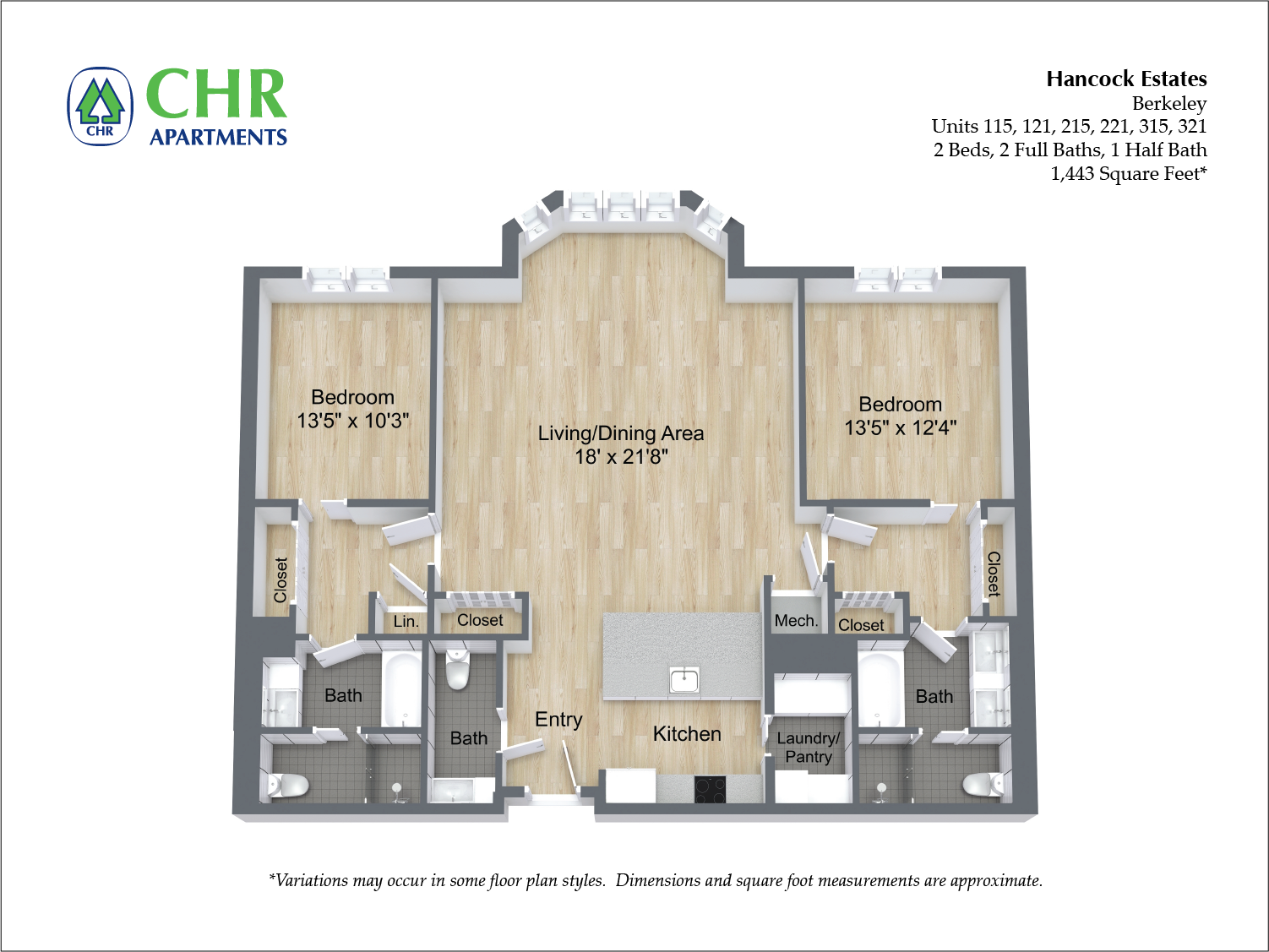 Click to view 2 BR 2.5 BA floor plan gallery