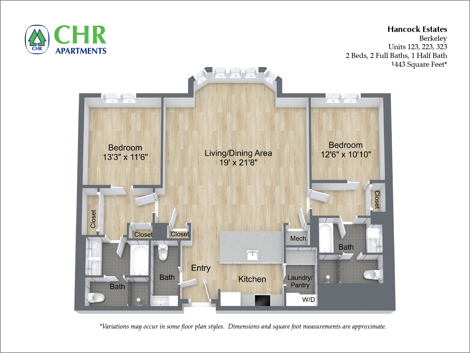 Click to view Floor plan 2 BR 2.5 BA image 2