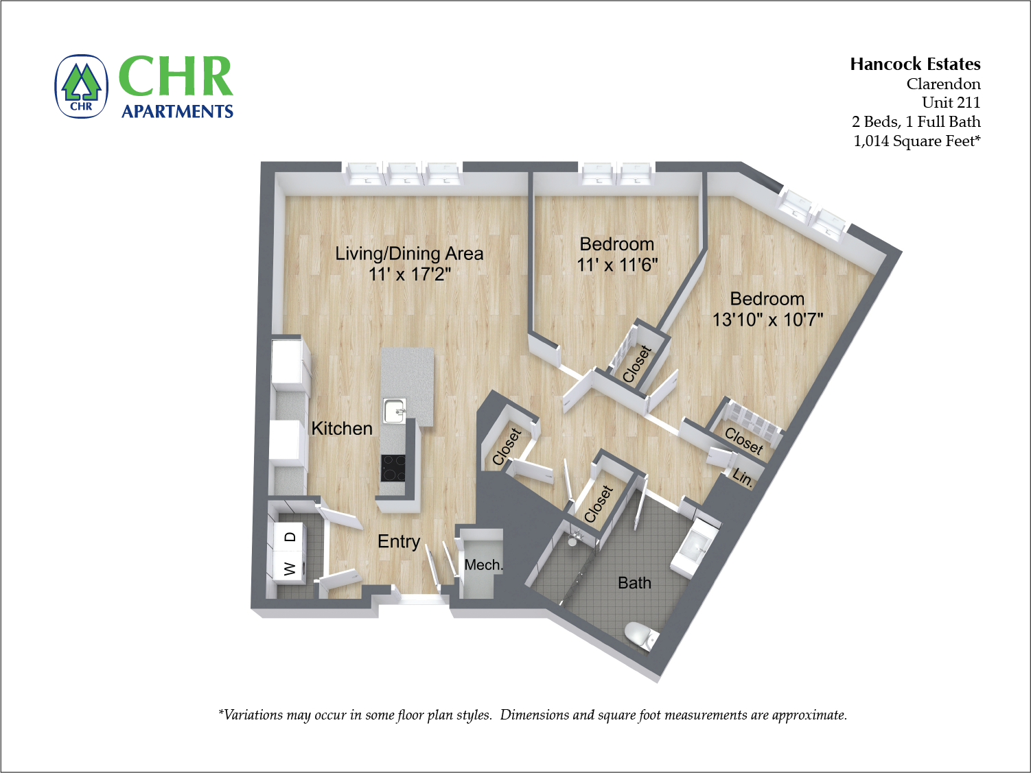 Click to view 2 BR 1 BA floor plan gallery