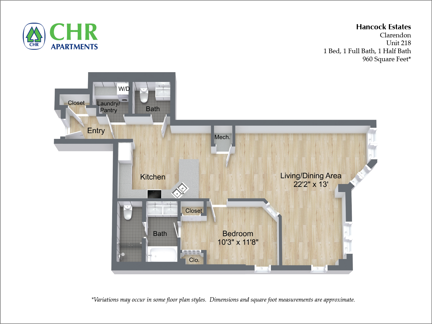 Click to view Floor plan 1 BR 1.5 BA image 13