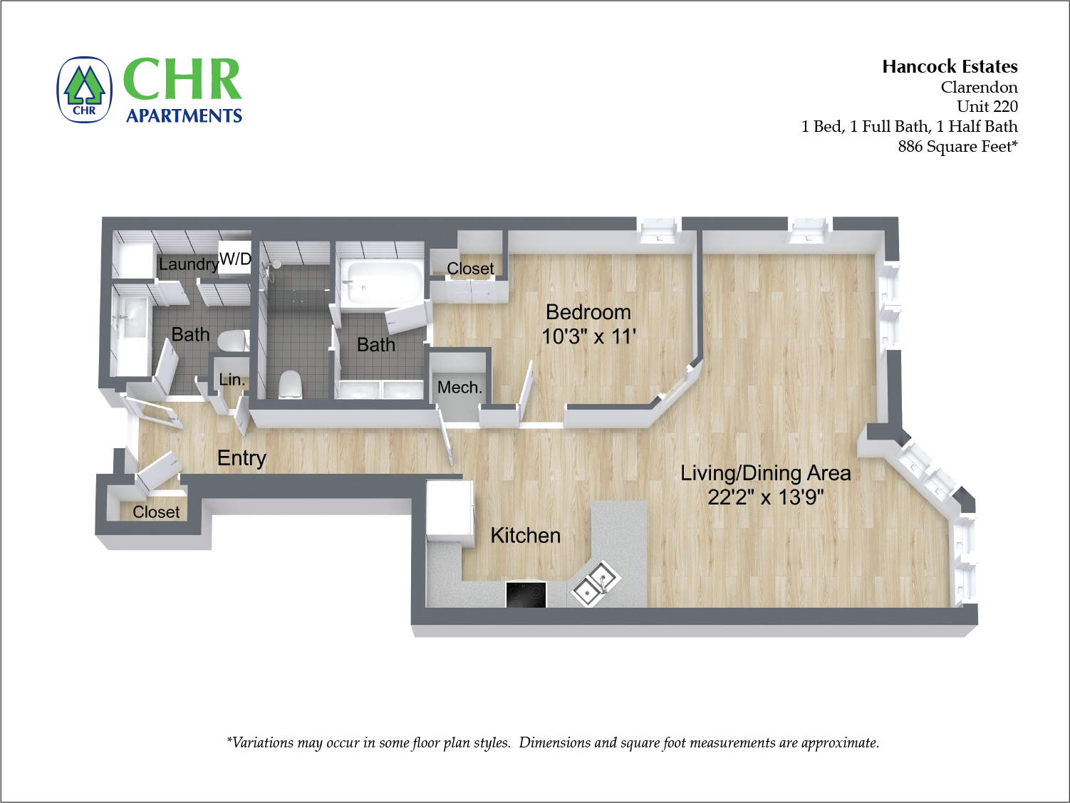 Click to view Floor plan 1 BR 1.5 BA image 12