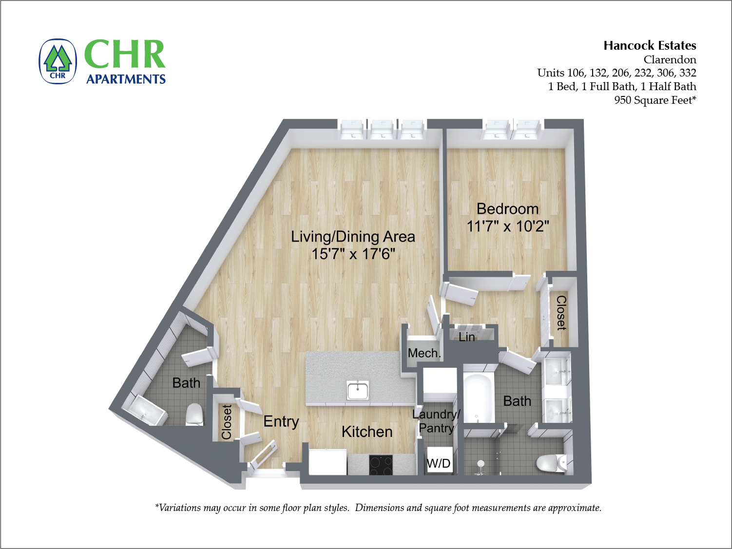 Click to view Floor plan 1 BR 1.5 BA image 10