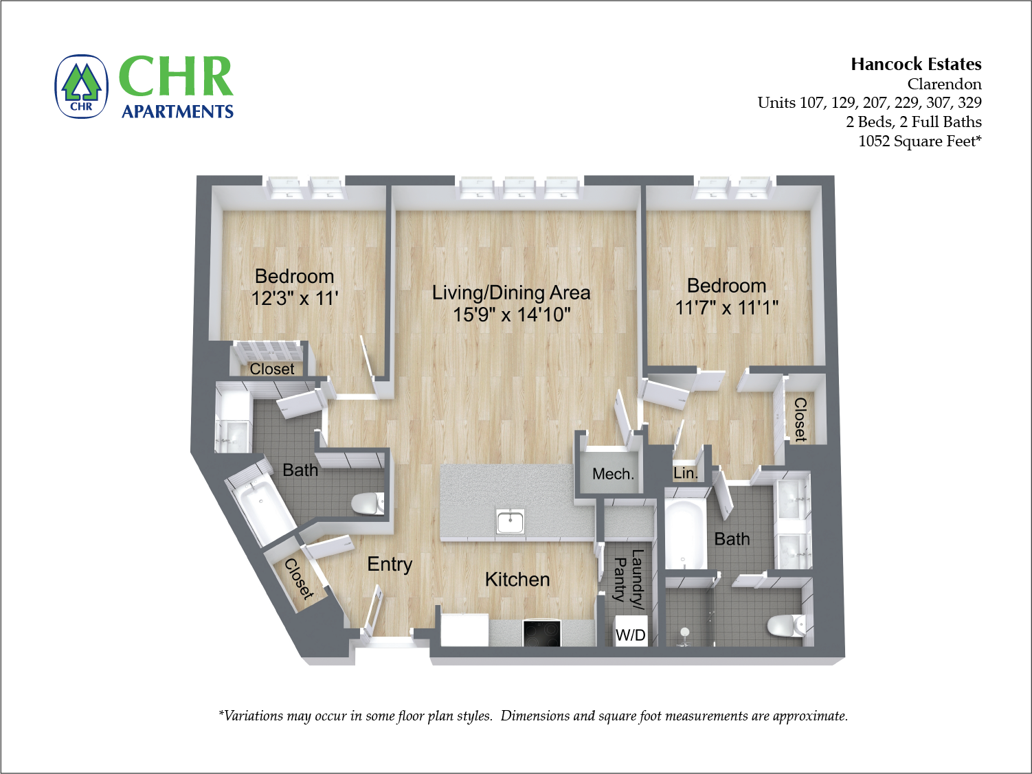 Click to view Floor plan 2 BR 2 BA image 3