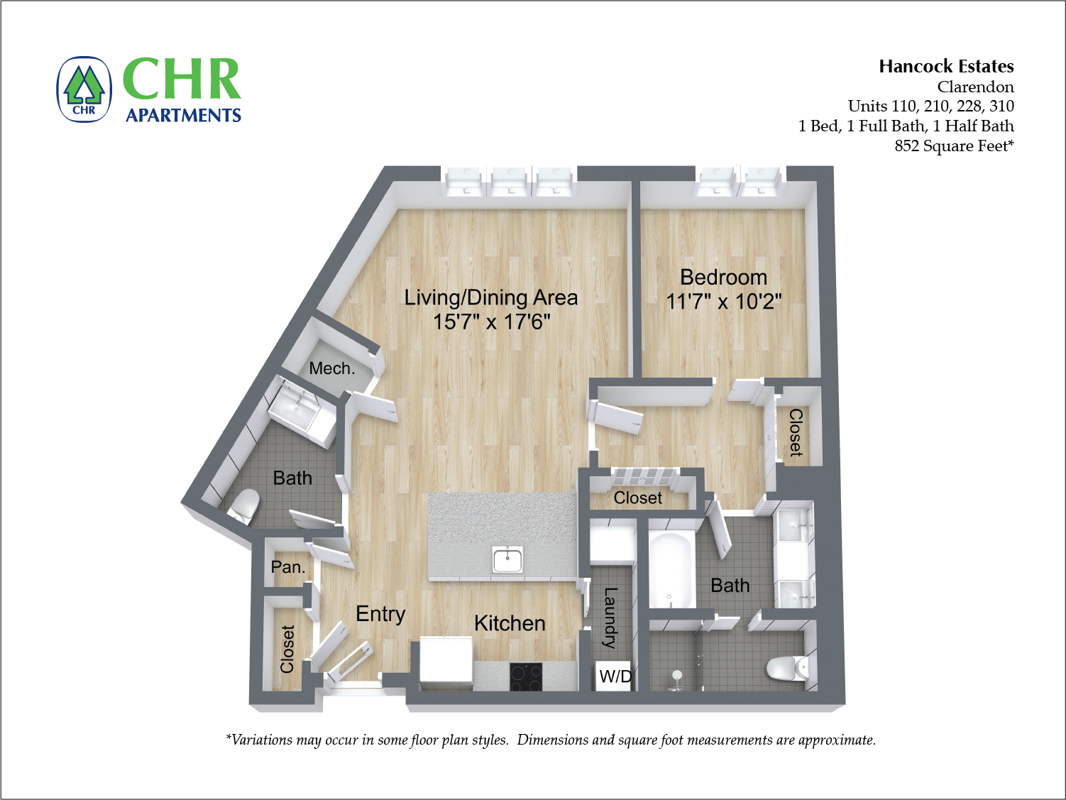 Click to view Floor plan 1 BR 1.5 BA image 11