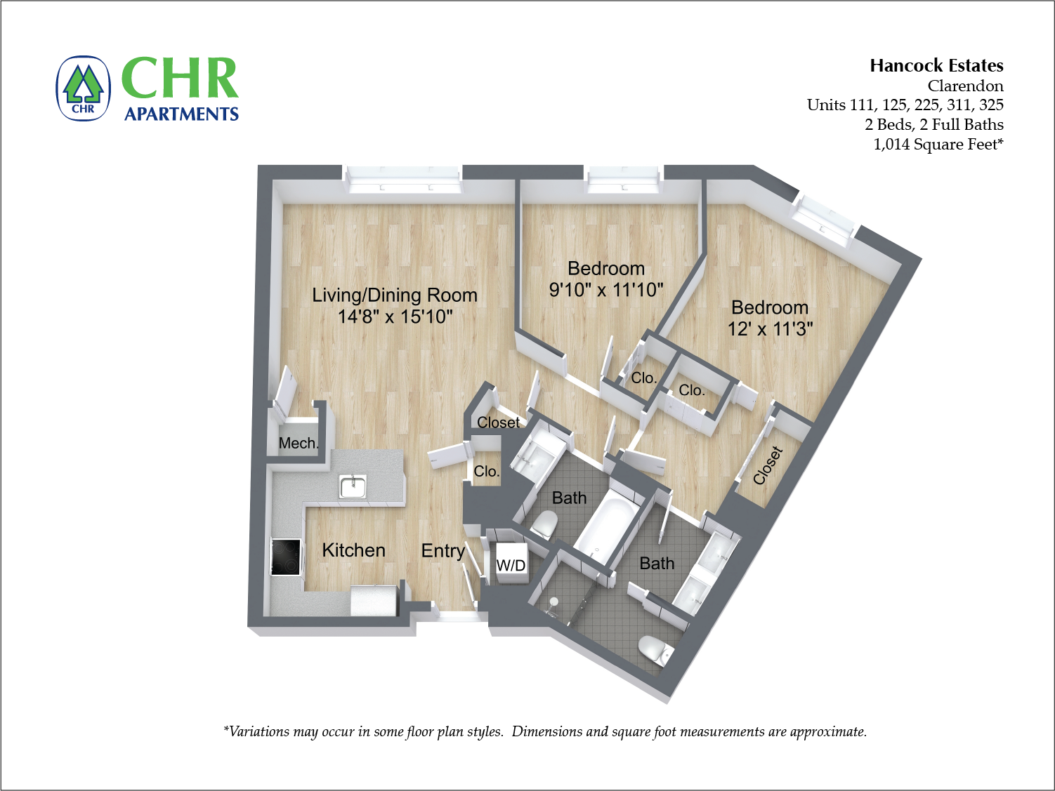 Click to view 2 BR 2 BA floor plan gallery