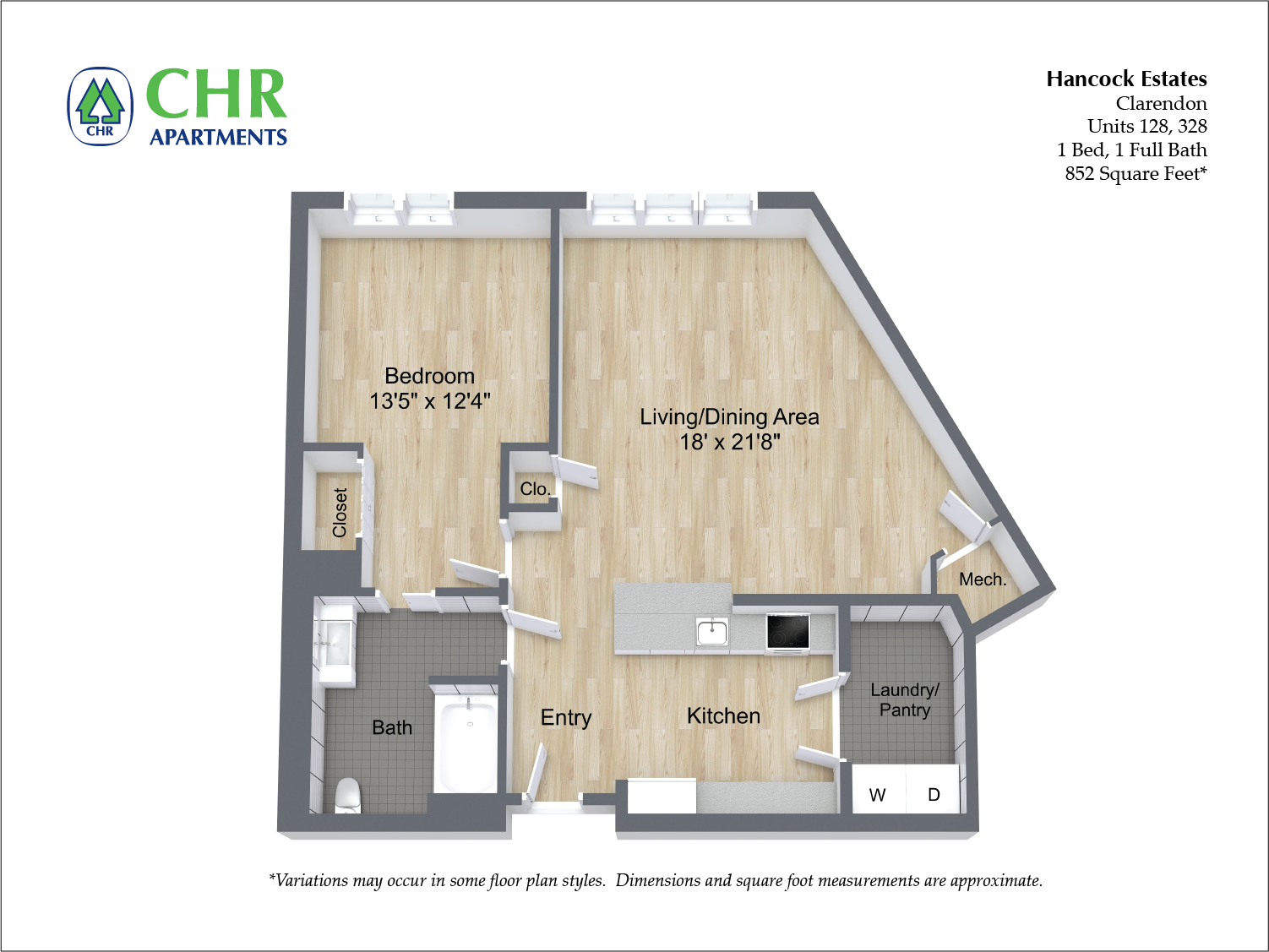 Click to view 1 BR 1 BA floor plan gallery
